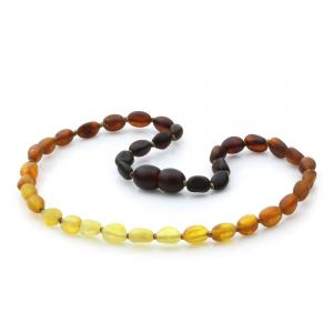 Semi Polished Baltic Amber Teething Necklace. Olive Rainbow II Matte 5x4 mm