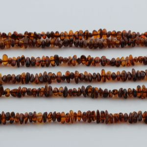 "Genuine Baltic Amber Loose Beads Strand 40cm / 15,7""- Round Flat 5mm. RO53C3"