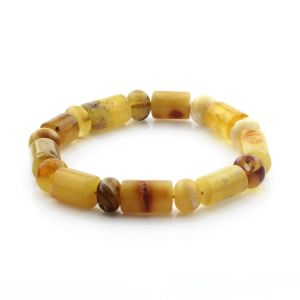 Adult Baltic Amber Bracelet Cylinder Tablet Beads 13mm 14gr. CB175