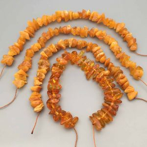 """Genuine Baltic Amber Loose Beads Strings Set of 4 Pcs. 20cm / 7.87"""" - Chips. ST25"""