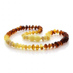 Natural Baltic Amber Teething Necklace. Round Flat LE80