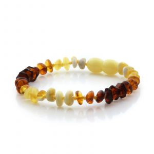 Natural Baltic Amber Teething Bracelet. Round Flat LE80
