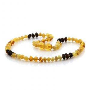 Natural Baltic Amber Teething Necklace. Baroque LE81