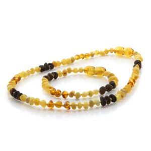 Natural Baltic Amber Teething Necklace & Bracelet Set. Baroque LE81