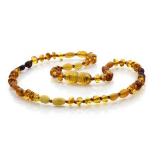 Natural Baltic Amber Teething Necklace. Baroque LE82