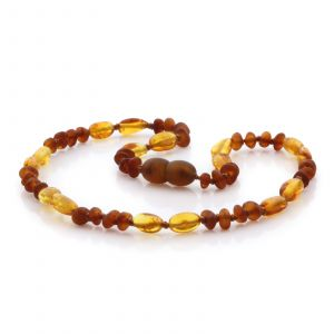 Natural Baltic Amber Teething Necklace. Round Flat LE83