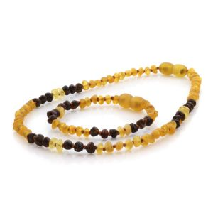 Natural Baltic Amber Teething Necklace & Bracelet Set. Baroque LE85