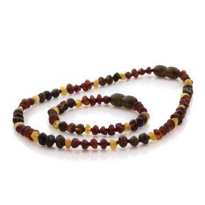 Natural Baltic Amber Teething Necklace & Bracelet Set. Round Flat LE88