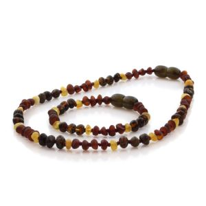 Natural Baltic Amber Teething Necklace & Bracelet Set. Baroque LE86
