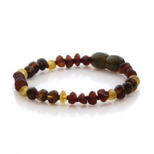 Natural Baltic Amber Teething Bracelet. Baroque LE86