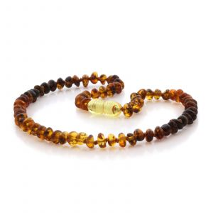 Natural Baltic Amber Teething Necklace. Round Flat LE87