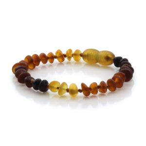 Natural Baltic Amber Teething Bracelet. Round Flat LE88