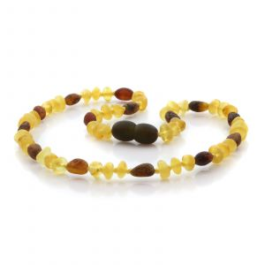 Natural Baltic Amber Teething Necklace. Round Flat LE89