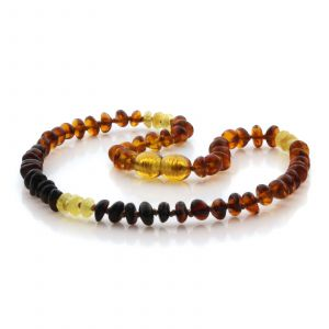 Natural Baltic Amber Teething Necklace. Round Flat LE90