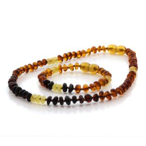 Natural Baltic Amber Teething Necklace & Bracelet Set. Round Flat LE90