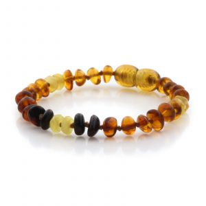 Natural Baltic Amber Teething Bracelet. Round Flat LE90
