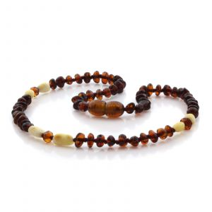 Natural Baltic Amber Teething Necklace. Round Flat LE91