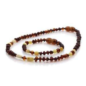 Natural Baltic Amber Teething Necklace & Bracelet Set. Round Flat LE91