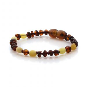Natural Baltic Amber Teething Bracelet. Round Flat LE91