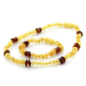 Baltic Amber Teething Necklace & Bracelet Set. Limited Edition LE01