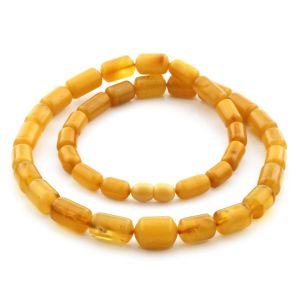 Natural Baltic Amber Necklace Cylinder Beads up to 14mm. 52cm. 26gr NPR52