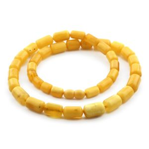 Natural Baltic Amber Necklace Cylinder Beads up to 13mm. 50cm. 24.9gr NPR54