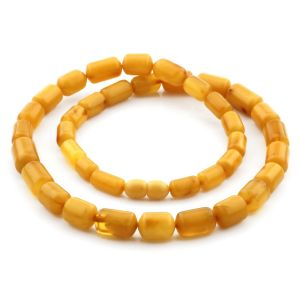 Natural Baltic Amber Necklace Cylinder Beads up to 13mm. 50cm. 24gr NPR55
