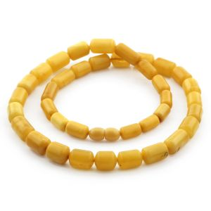 Natural Baltic Amber Necklace Cylinder Beads up to 13mm. 50cm. 23.7gr NPR56