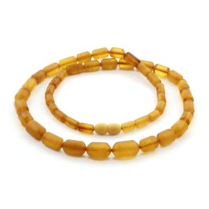 Natural Baltic Amber Necklace Cylinder Beads up to 13mm. 54cm. 18.1gr NPR57