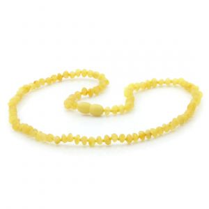 Adult Raw Baltic Amber Necklace. Baroque Milky Yellow Rough 4x3 mm