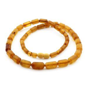 Natural Baltic Amber Necklace Cylinder Beads up to 14mm. 50cm. 16.6gr NPR58