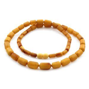 Natural Baltic Amber Necklace Cylinder Beads up to 14mm. 54cm. 18.6gr NPR59