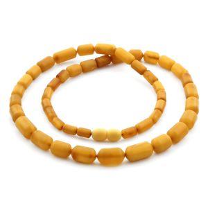 Natural Baltic Amber Necklace Cylinder Beads up to 14mm. 54cm. 18.3gr NPR60