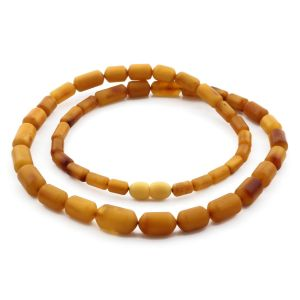 Natural Baltic Amber Necklace Cylinder Beads up to 14mm. 54cm. 17.7gr NPR62