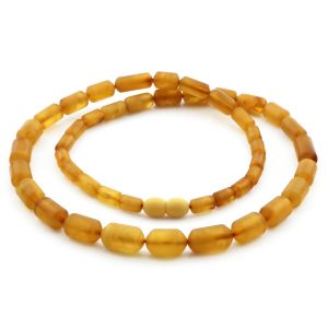 Natural Baltic Amber Necklace Cylinder Beads up to 14mm. 54cm. 18.3gr NPR64