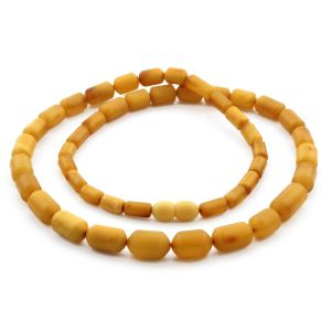 Natural Baltic Amber Necklace Cylinder Beads up to 14mm. 54cm. 18.5gr NPR65