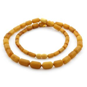 Natural Baltic Amber Necklace Cylinder Beads up to 14mm. 57cm. 20gr NPR66