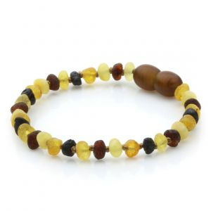 Raw Baltic Amber Teething Bracelet. Baroque Multicolor Rough 4x3 mm