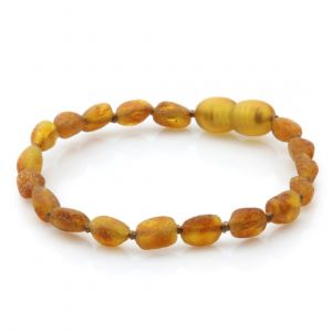 Raw Baltic Amber Teething Bracelet. Olive Light Cognac Rough 5x4 mm