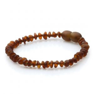 Semi Polished Baltic Amber Teething Bracelet. Round Flat Cognac Matte 4x2 mm