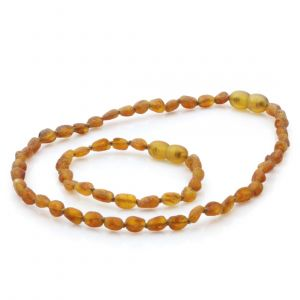 Raw Baltic Amber Teething Necklace & Bracelet Set. Olive Light Cognac Rough 5x4mm