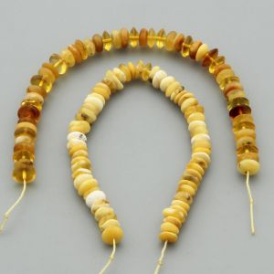 "Natural Baltic Amber Loose Beads Strings Set of 2 Pcs. 20cm / 7.87"" - Tablet. ST316"