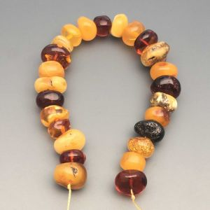 "Natural Baltic Amber Loose Beads Strings Set of 1 Pc.  21cm / 8.26"" - Tablet. ST221"
