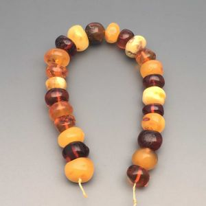"Natural Baltic Amber Loose Beads Strings Set of 1 Pc. 20cm / 7.87"" - Tablet. ST232"
