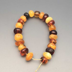 "Natural Baltic Amber Loose Beads Strings Set of 1 Pc. 20cm / 7.87"" - Tablet. ST226"