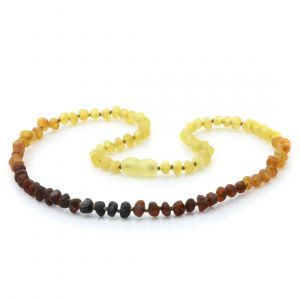 Adult Raw Baltic Amber Necklace. Baroque Rainbow I Rough 5x4 mm