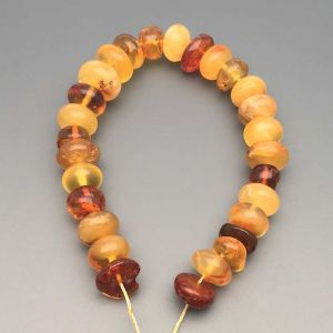 "Natural Baltic Amber Loose Beads Strings Set of 1 Pc. 20cm / 7.87"" - Tablet. ST231"