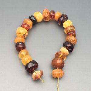 "Natural Baltic Amber Loose Beads Strings Set of 1 Pc. 20cm / 7.87"" - Tablet. ST239"