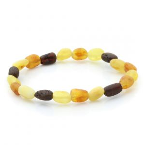 Adult Raw Baltic Amber Bracelet. Olive Multicolor Rough 5x4 mm