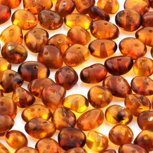 Baltic Amber Beads Round Flat Cognac